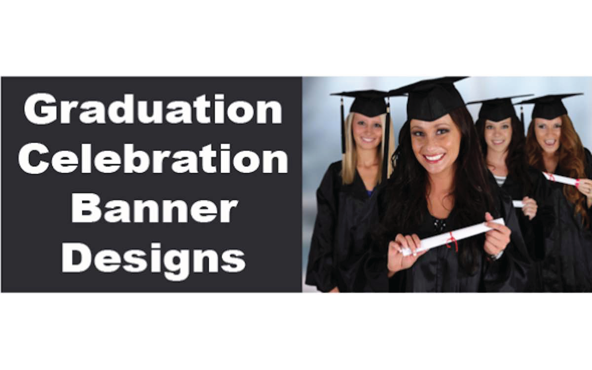 graduation banners print a banner pvc banners for any occasion party celebration wedding. Black Bedroom Furniture Sets. Home Design Ideas