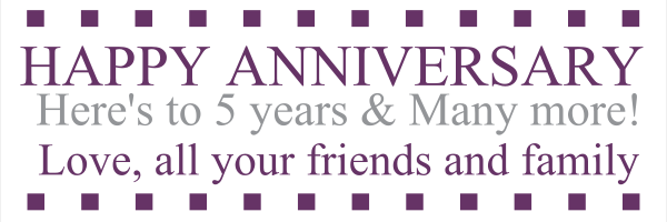Personalised+5+year+Anniversary+Banner - design template - 12