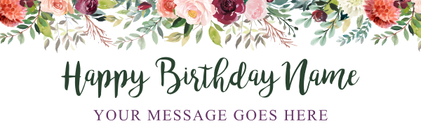 Floral+Watercolour+Birthday+Banner - design template - 893