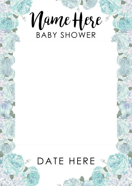 Custom+Flower+Baby+Shower+Selfie+Frame - design template - 915