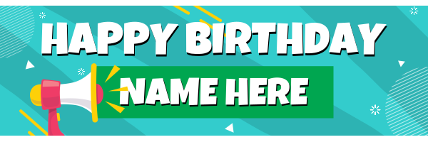 Megaphone+Personalised+Birthday+Banner - design template - 935