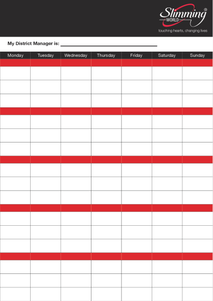 Slimming+World+Week+Planner+Poster - design template - 942