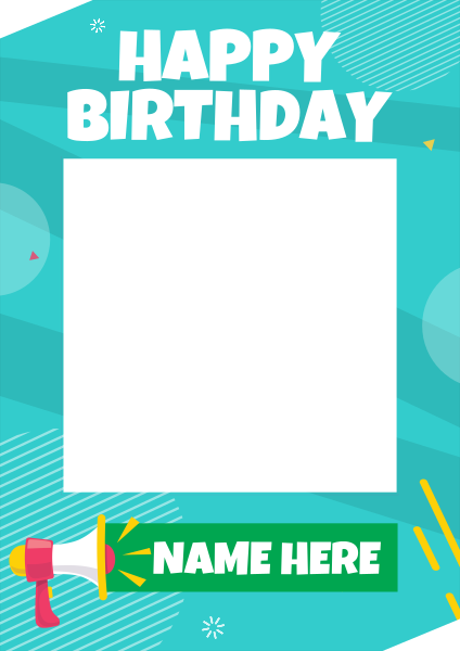 Megaphone+Birthday+Selfie+Frame - design template - 950